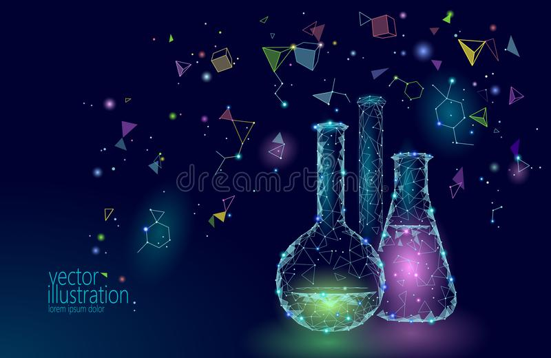 Low poly science chemical glass flasks. Magical equipment polygonal triangle blue glowing research future technology stock illustration