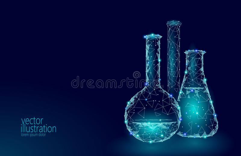 Low poly science chemical glass flasks. Magical equipment polygonal triangle blue glowing research future technology vector illustration