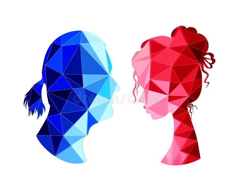Low poly silhouette of a handsome man and beautiful girl royalty free illustration