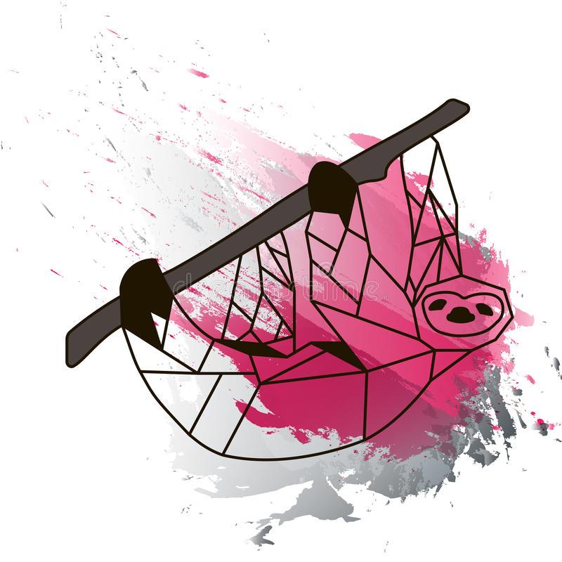 Low poly sloth on black and pink watercolor stock image
