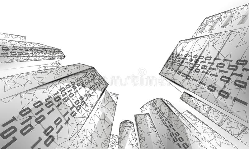 Low poly smart city 3D wire mesh. Intelligent building automation system business concept. Binary code number data flow royalty free illustration
