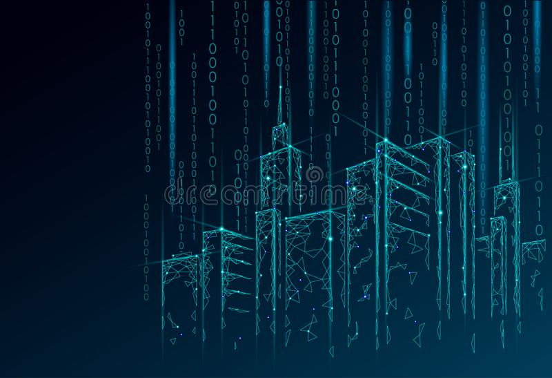 Low poly smart city 3D wire mesh. Intelligent building automation system business concept. Binary code number data flow. Architecture urban cityscape royalty free illustration