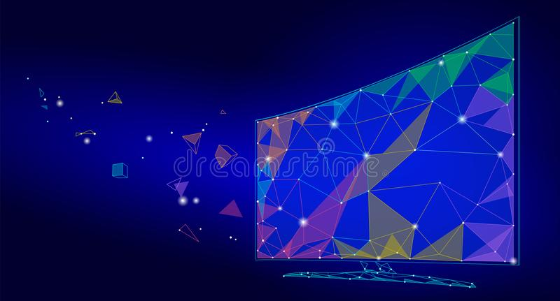 Low poly smart tv screen video. Polygonal virtual reality desktop future technology display connected point line dots stock illustration