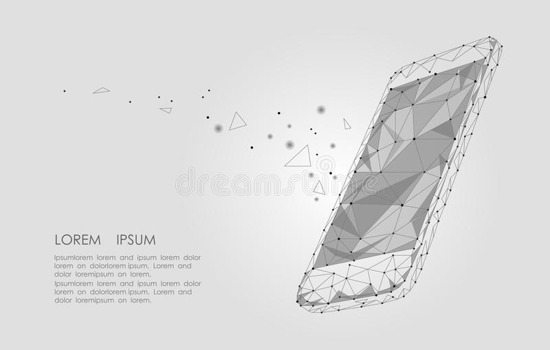 Low poly smartphone mobile touch screen display. Triangle polygonal geometric design connected dots starry sky. Modern stock illustration