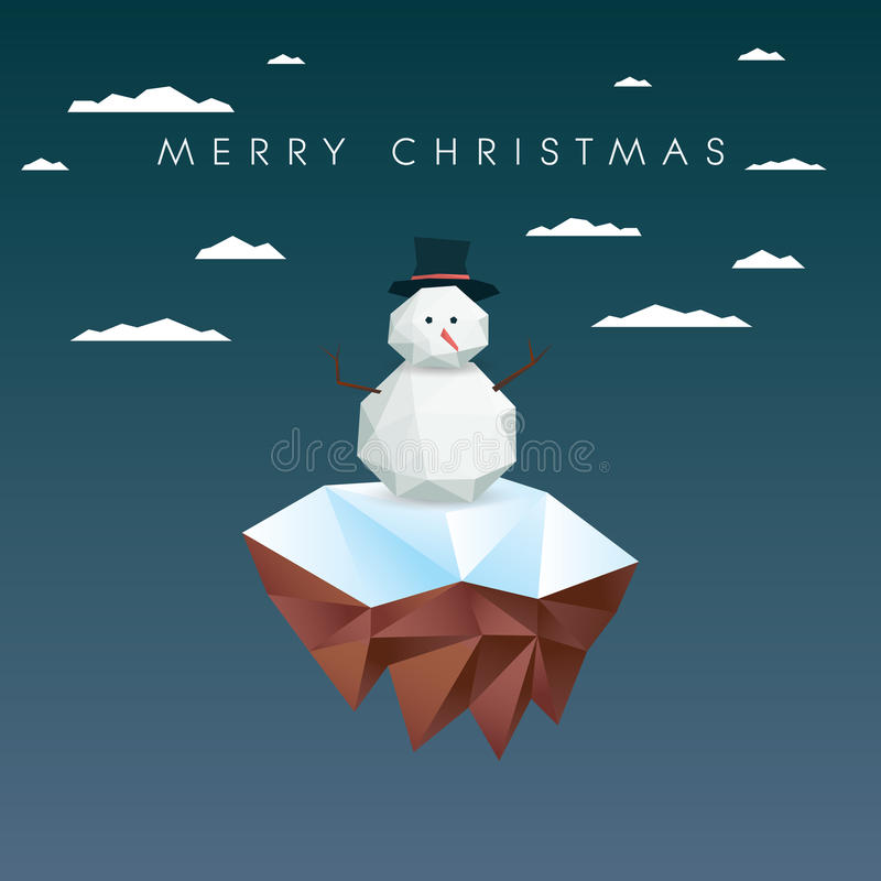 Low poly snowman on polygonal floating island. Christmas card template. Eps10 vector illustration royalty free illustration