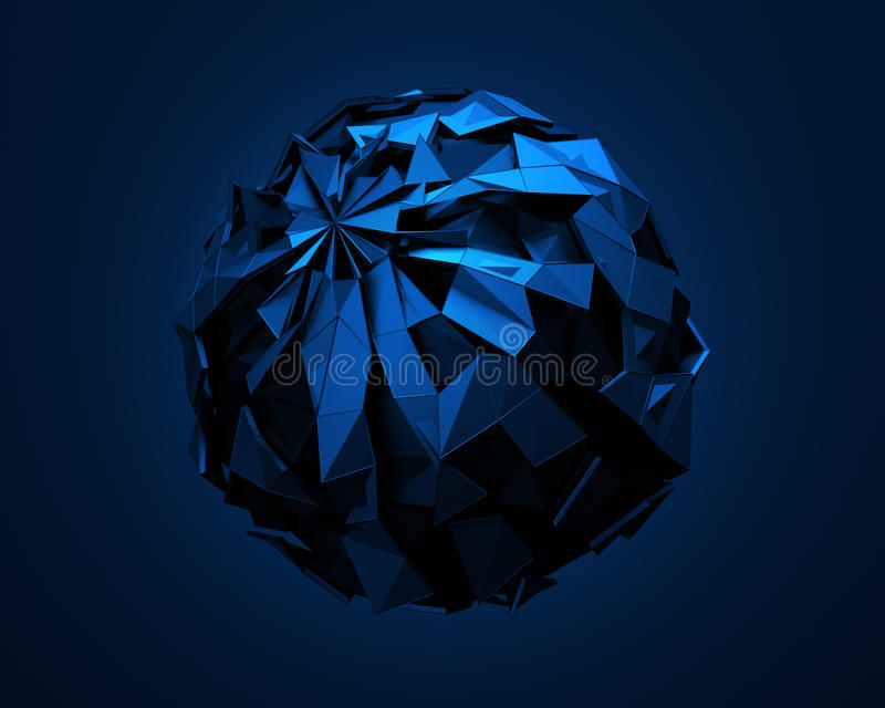 Low Poly Sphere with Chaotic Structure. royalty free illustration