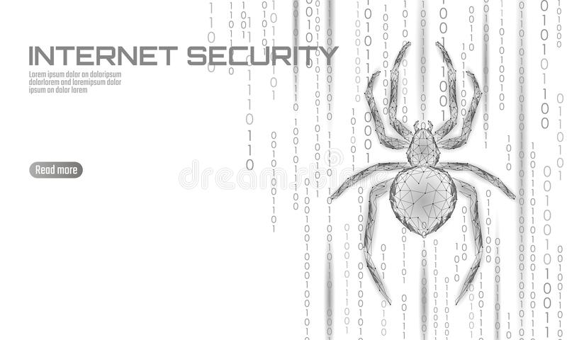 Low poly spider hacker attack danger. Web security virus data safety antivirus concept. Polygonal modern design business. Concept. Cyber crime web insect bug stock illustration