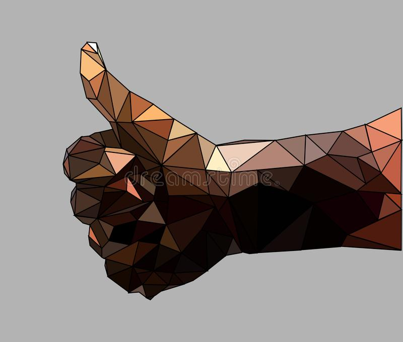 Low Poly Stain Hands Showing Thumbs Up With Black Liquid On