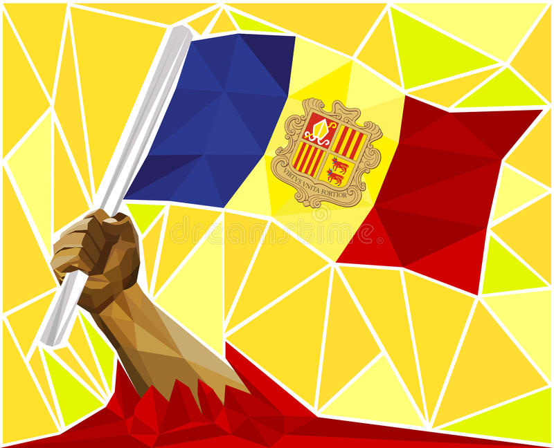 Low Poly Strong Hand Raising The Flag Of Andorra vector illustration