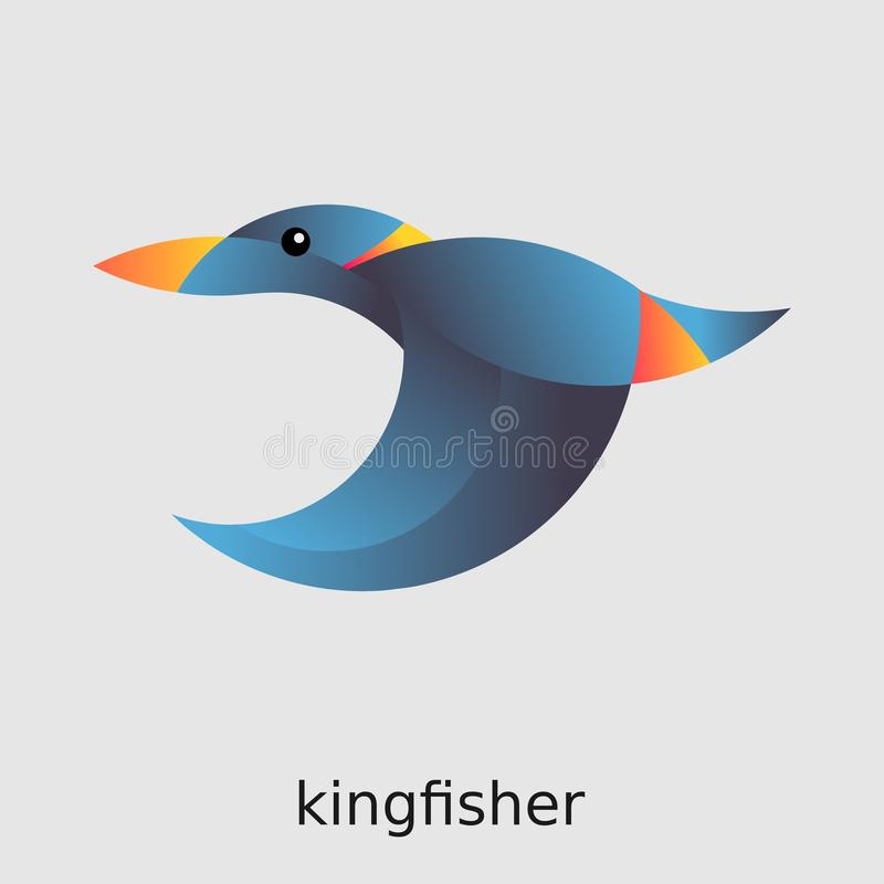 Blue bird logo Kingfisher. Low poly style logo illustration of a blue and orange little flying bird kingfisher made with golden ratio proportions royalty free illustration