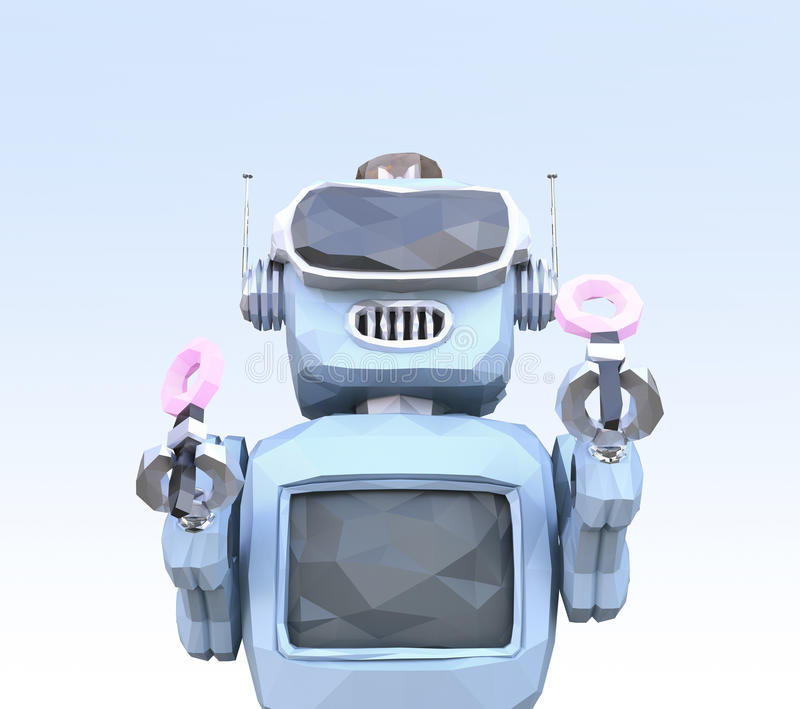 Red Low Poly Robot In Pastel Blue Polygonal Background