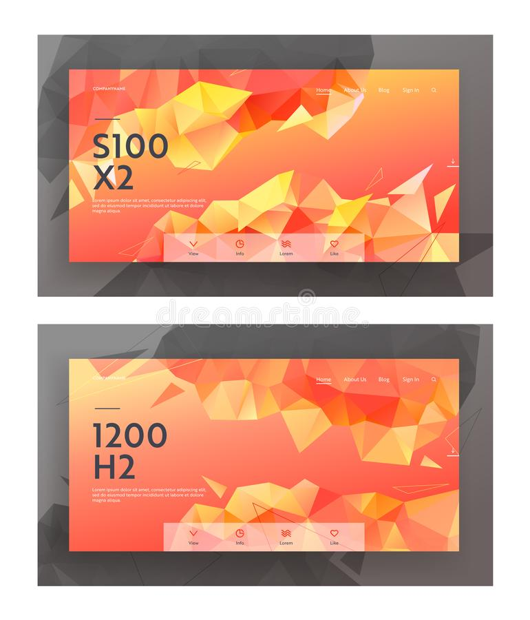 Low Poly Style Website Landing Page Banners Set, Modern Background with Triangle Polygonal Pattern. Creative Geometric Design stock illustration