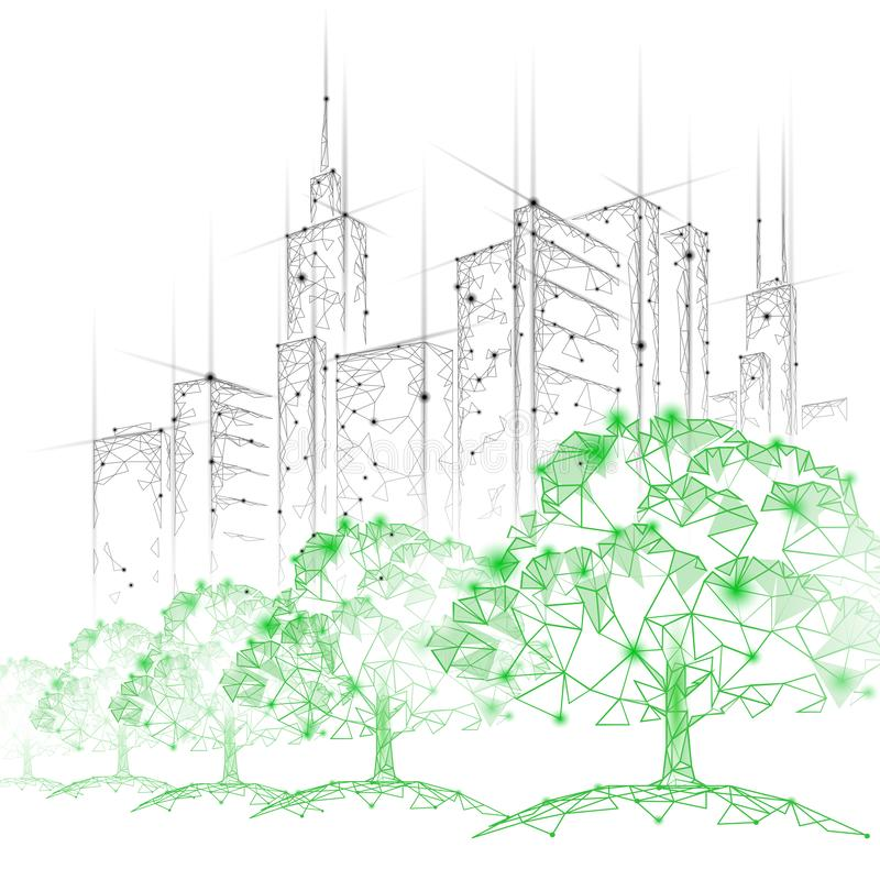 Low poly tree park cityscape. Ecology save nature concept. Eco idea forest in urban skyscrape city. Environmental. Pollution poster template vector illustration stock illustration