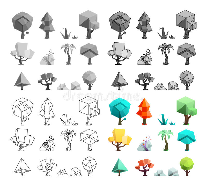 Low poly trees rocks grass icons set flat design line art vector illustration royalty free illustration