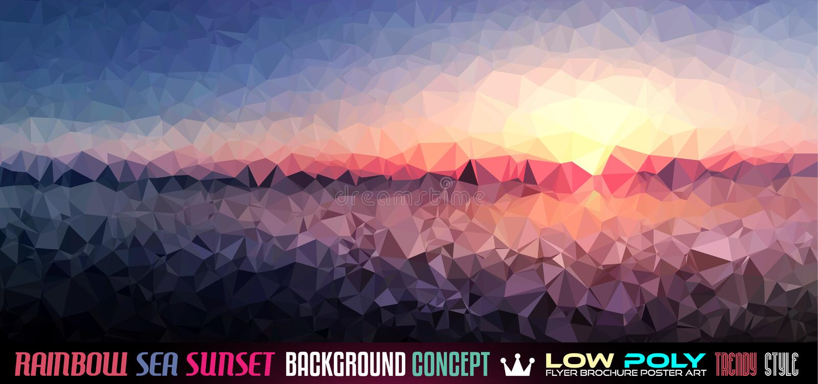 Low Poly tSea Sunset Art background for your flyer vector illustration