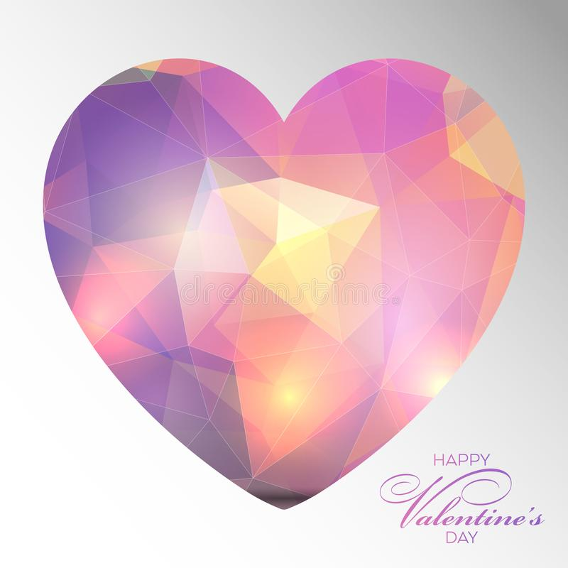 Low poly Valentines Day heart background stock illustration