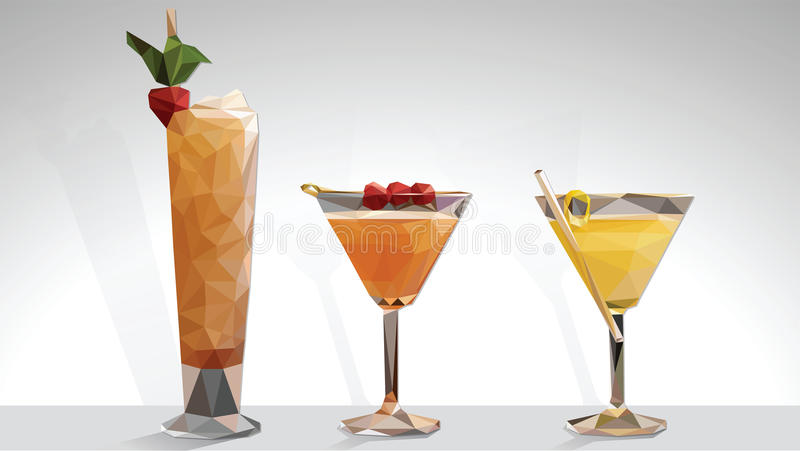 Low Poly Vector Cocktails. In White background stock illustration