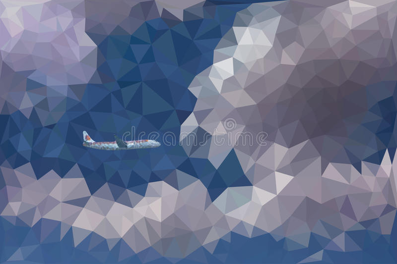 Low poly vector illustration of dramatic sky, clouds and a plane. Low poly abstract vector illustration of dramatic sky with clouds and a flying plane royalty free illustration