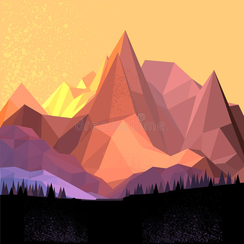 Low Poly Vector Mountain stock illustration