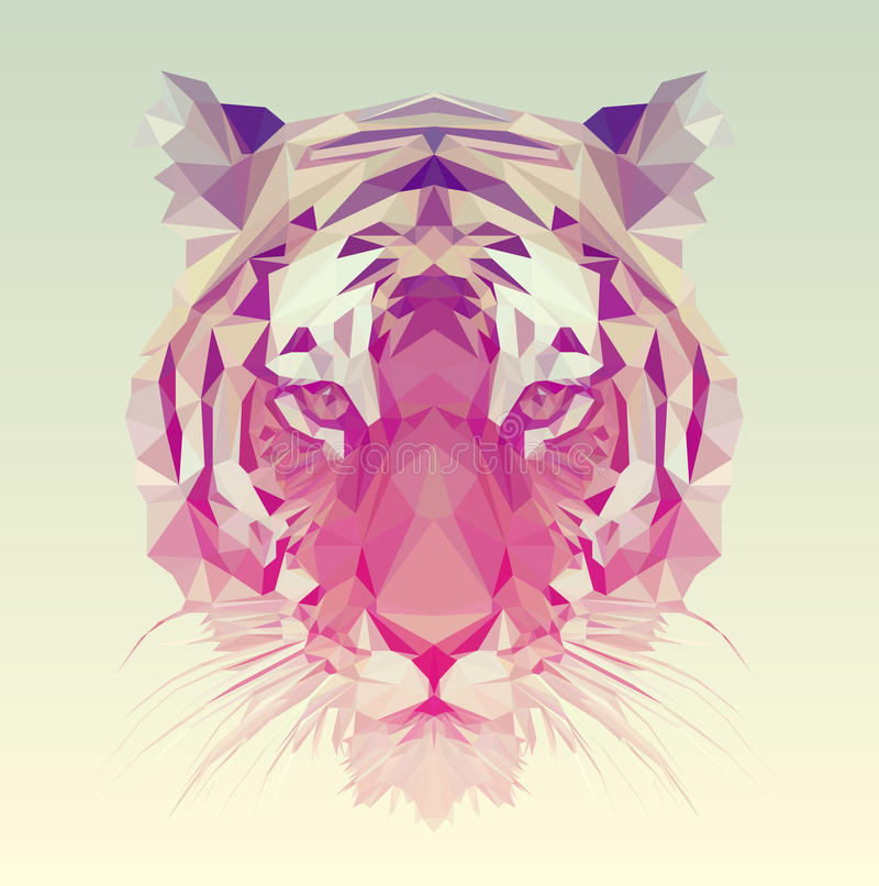 Low Poly Vector Tiger Illustration. Polygonal animal graphic design vector illustration