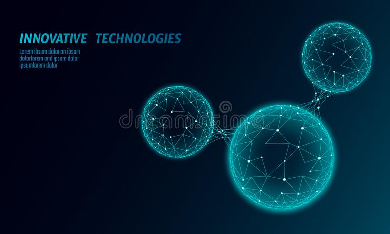 Low poly water molecule structure 3D render concept. Polygonal science research ecological technology art. Futuristic stock illustration