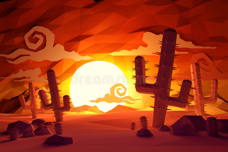 Low Poly Wild West. Low poly handmade feel Wild West landscape with cactus plants and sunset vector illustration