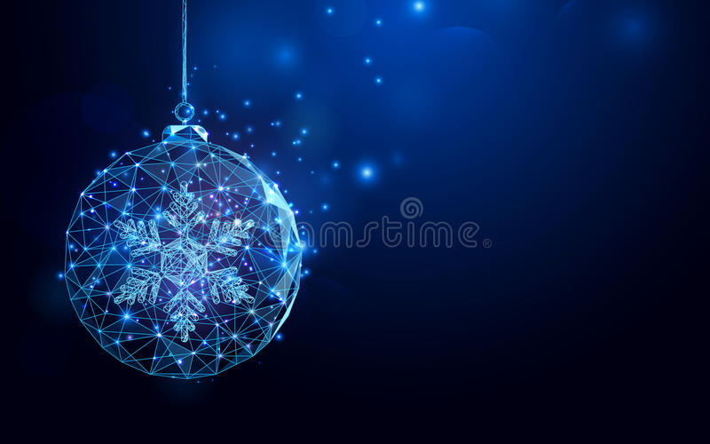 Low polygon Christmas ball wireframe mesh on dark blue background. Space for your text vector illustration