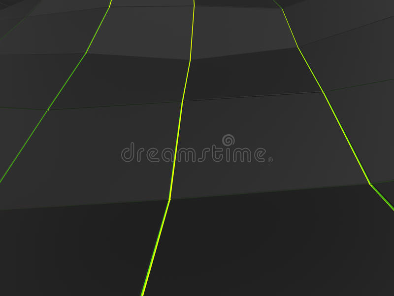 Low polygon dark background with three green lines royalty free illustration