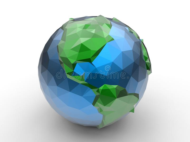 Low polygon earth illustration - America royalty free illustration