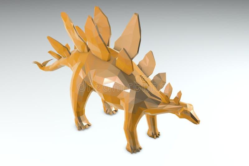 Low-polygonal dinosaur Stegosaurus stock illustration