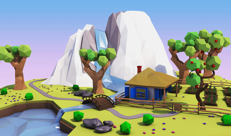 Low polygonal geometric landscape with mountains, trees, river and house. 3D illustration royalty free illustration