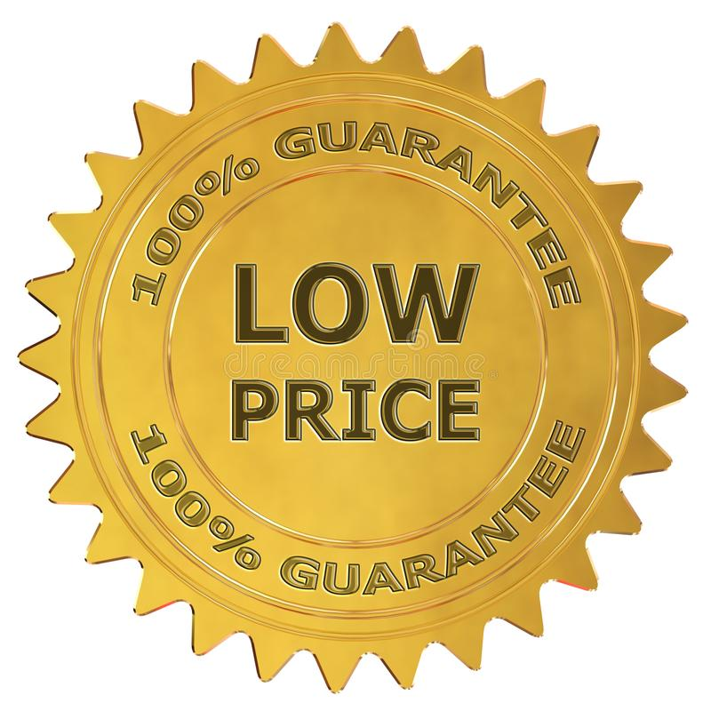 Low price guarantee label. Low price 3d rendered golden guarantee label stock illustration