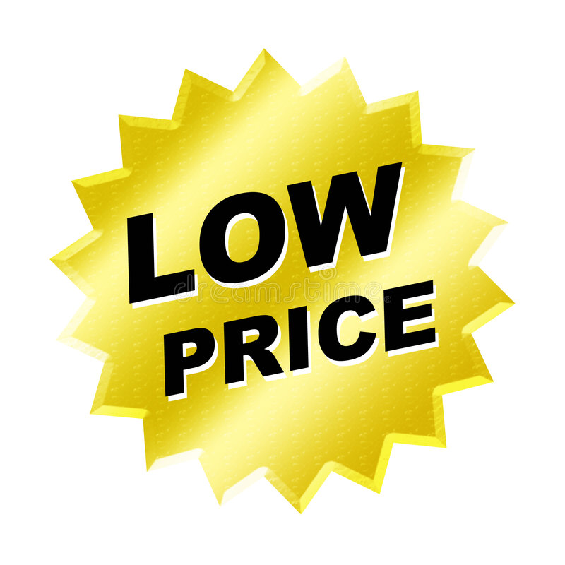 Low Price Sign. Yellow low price sign - web button - internet design vector illustration