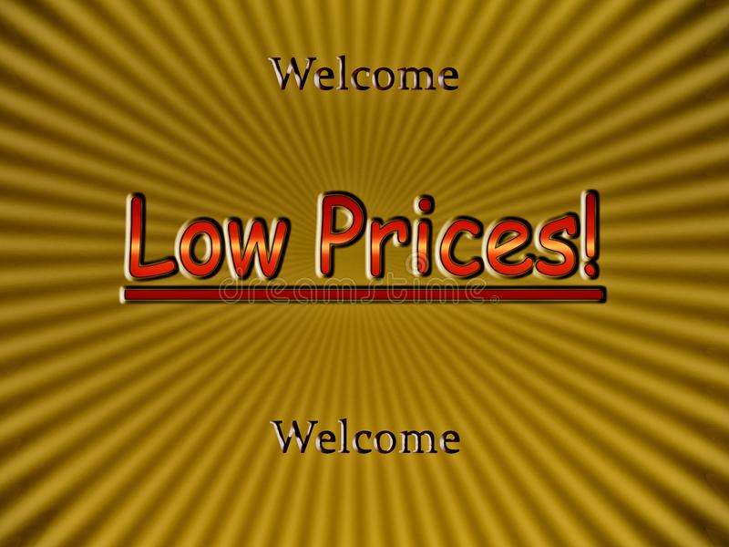 Low Proces - Welcome!. Low Prices -Welcome! Advertisement and promotion illustration stock illustration