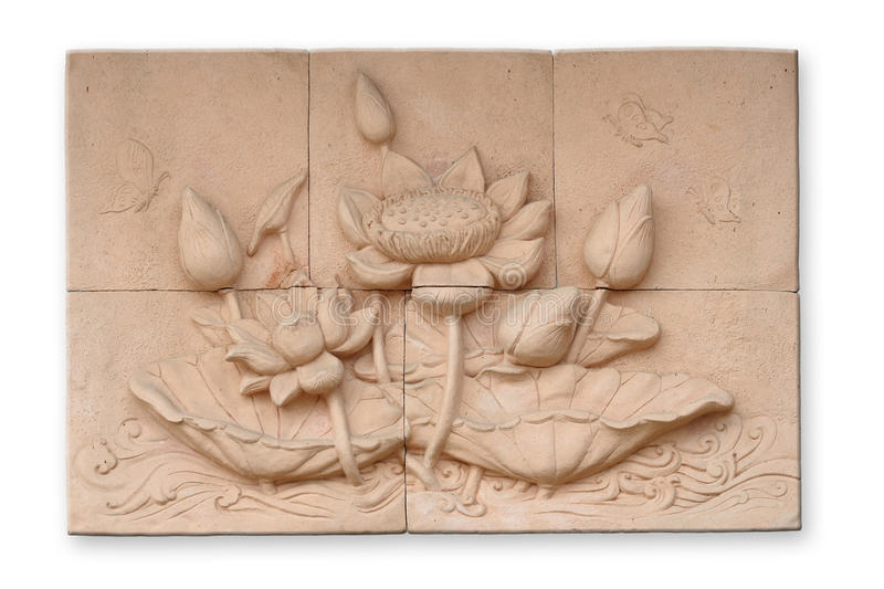 Low relief cement Thai style. Handcraft of buddhism royalty free stock photos