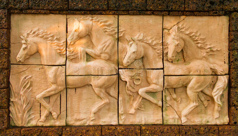 Low relief sculpture. Of horse royalty free stock photo