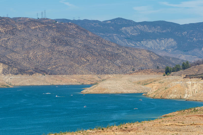 Low reservoir during California drought stock image