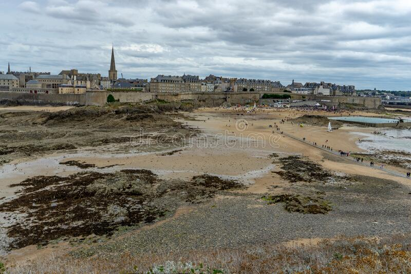 Low sea tide in San Malo travel visit royalty free stock photos