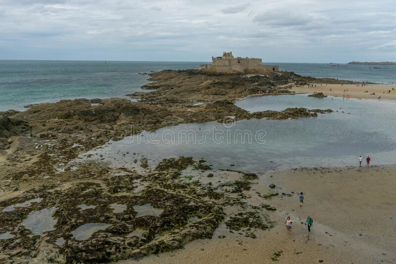 Low sea tide in San Malo travel visit stock image