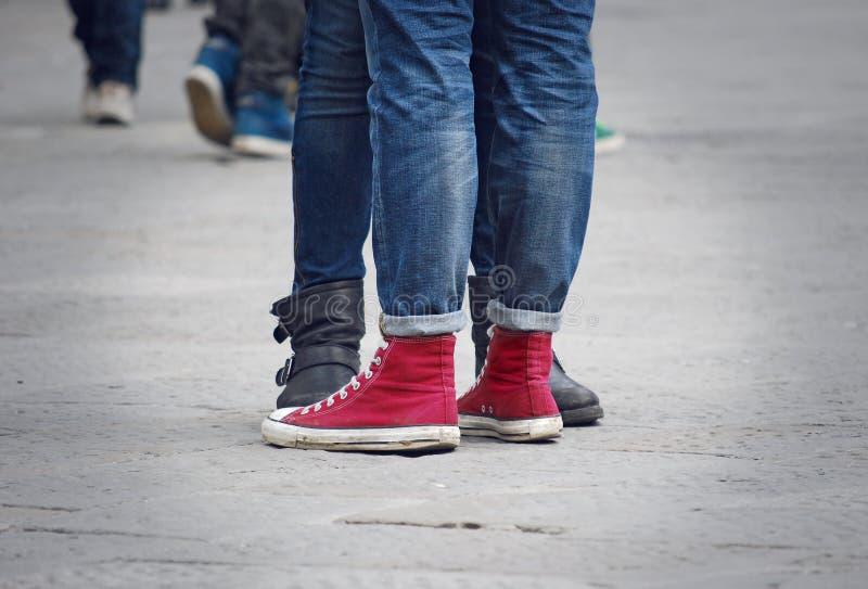 Teens couple legs