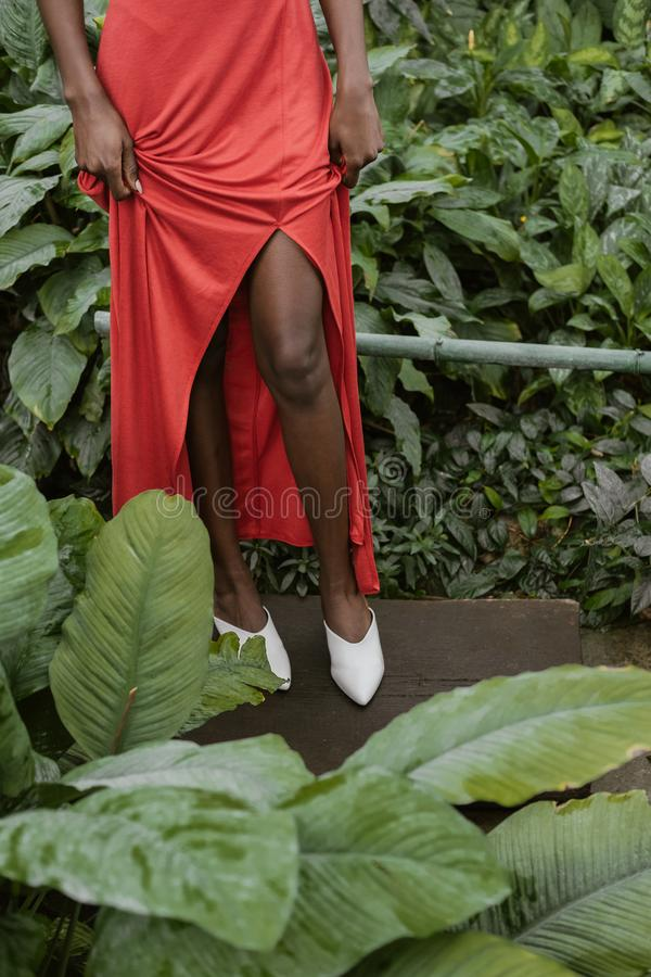 Low section view of african american girl. Posing in red dress in tropical garden royalty free stock photography