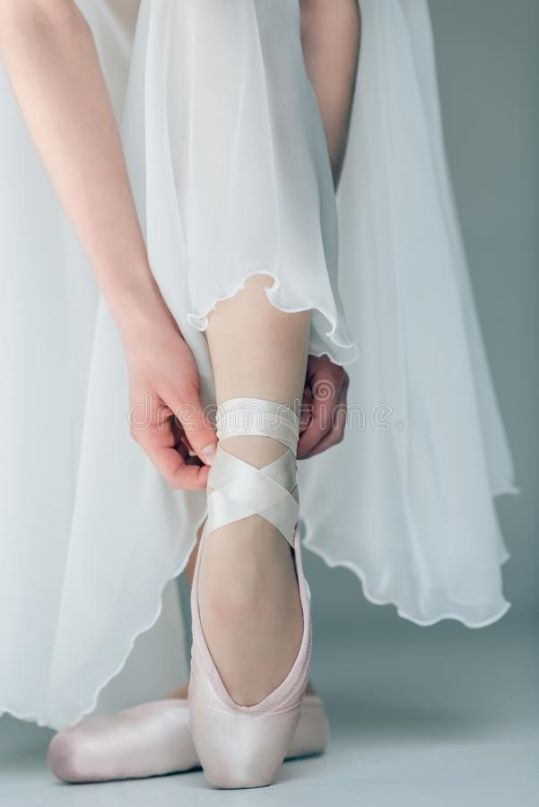 Low section view of feet. In ballet shoes stock photos
