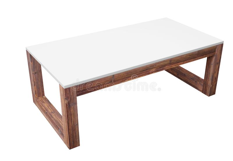 Low table isolated on white with clipping path included. 3D rendering image. Low table isolated on white background. Saved clipping path included. 3D rendering stock illustration