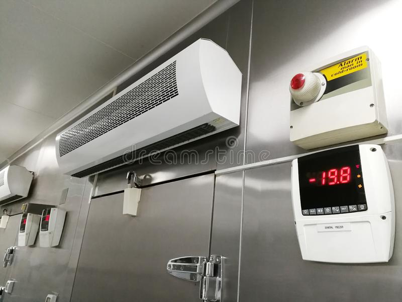 Low Temperature of Front Frozen Storage Cold Room. Low Temperature of Front Frozen Food Storage Cold Room royalty free stock photography