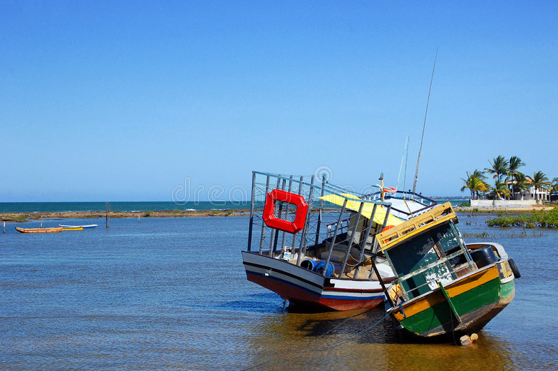 Low Tide. The low tide effect in Porto Seguro, the brazilian northwest famous town stock photos