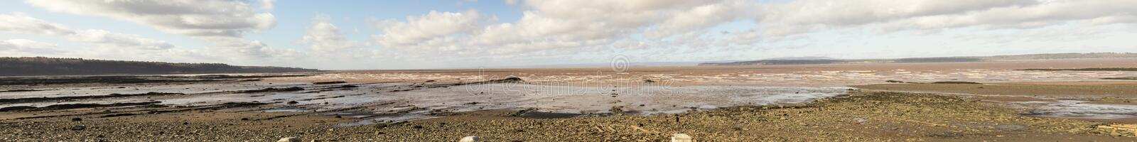 Low tide on Bay of Fundy at Joggins Fossil Cliffs, Nova Scotia, royalty free stock images