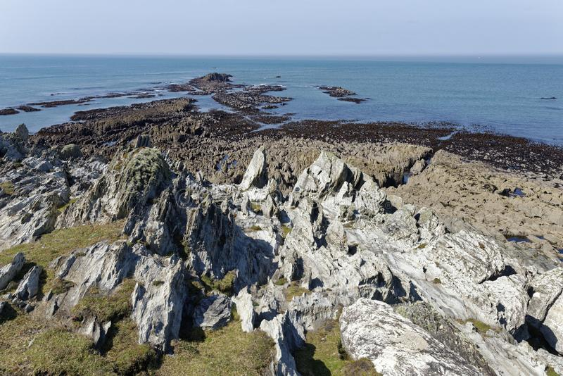 Low Tide at Morte Point. Low Tide on Slate Rocks at Morte Point, North Devon, UK stock photo