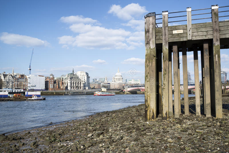 Download Low Tide River Thames And London City Skyline Including St Paul' Stock Image - Image: 30676927