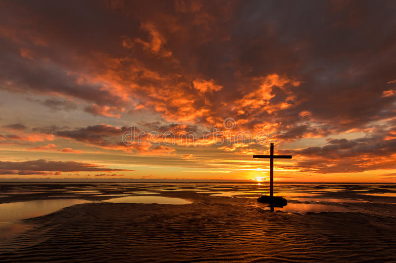 Download Low Tide Salvation Black Cross Stock Photo - Image: 92322580