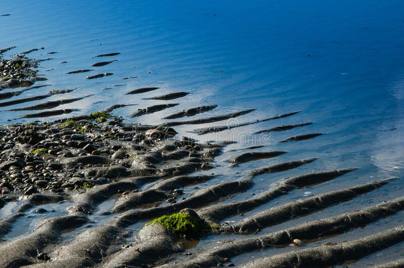 Low tide with sand and blue ocean stock photography